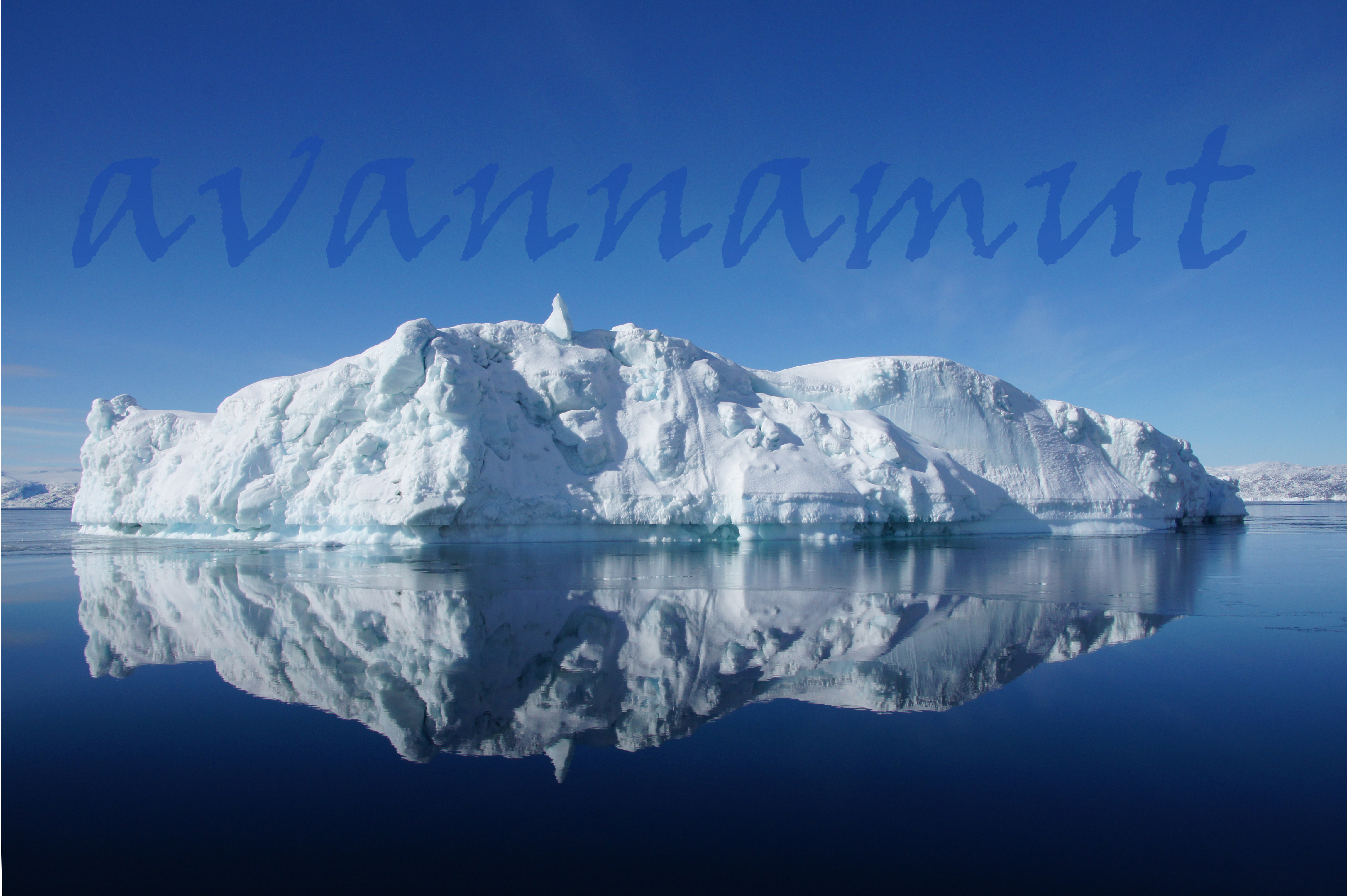 iceberg with perfect reflexion in fjord